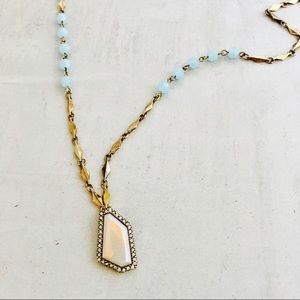 Jewelry - NWOT Gold colored cream and light blue necklace